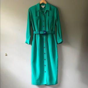 Vintage Talbot's Teal Color-block Dress size 6